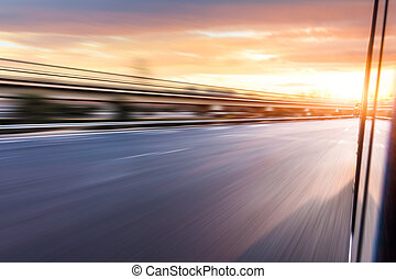 autostrada, napędowy, wóz, plama ruchu, zachód słońca