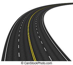 autostrada, odizolowany, na białym