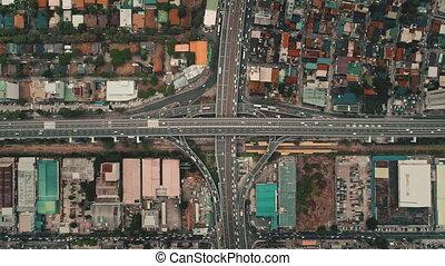 autostrada, ruch, powolny, górny, jazda, prospekt., krzyż, ...