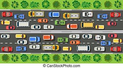 autostrade, cima, strada, vista