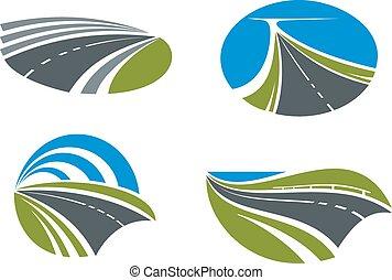 autostrade, strade, icone, paesaggi, natura