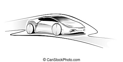 Autostudie - abstract illustration of a vehicle design study