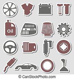 Autoteile, kaufmannsladen. Trolley., image., auto, symbol,... Vektor ...