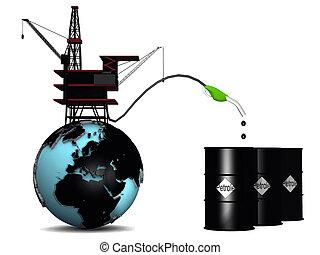 autotreno, globo, olio, petrolio, tamburi