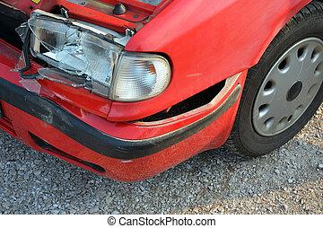 autounfall, -, kaputte , front, licht