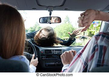 autounfall, mit, fußgänger