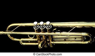 autour de, agrafe, arrêter mouvement, rotation, trompette