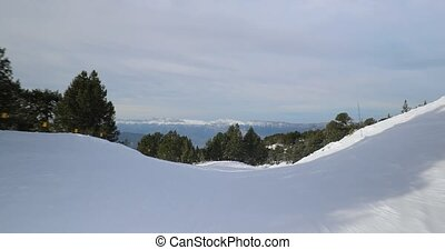 autour de, bas, ski, pente, personne