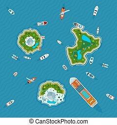 autour de, bateaux, vue, îles, sommet