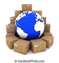 autour de, boîtes, fond, la terre, blanc, carton