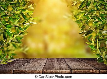 autour de, branches, bois, produit, olive, prêt, table, placement, vide