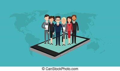 autour de, business, animation, ligne, mondiale, hd