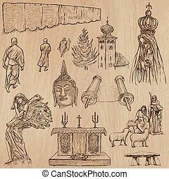 autour de, collection., set., -, main, religion, vecteur, mondiale, dessiné