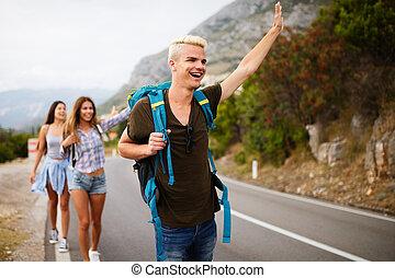 autour de, compagnie, hipster, voyager, mondiale, amis, heureux