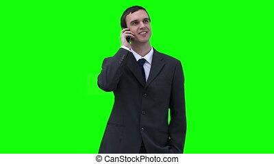 autour de, conversation, regarder, téléphone, quoique, homme affaires