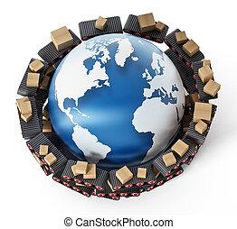 autour de, convoyeur, transfering, ceintures, illustration, boîtes, carton, earth., 3d