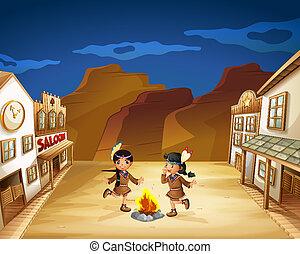 autour de, danse, brûler, filles, deux, indien
