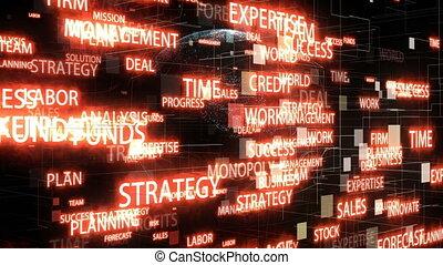 autour de, espace, commercialisation, stratégie, tourner, mots, numérique, la terre, animé, 3d