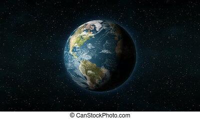 autour de, espace, réaliste, terre tournant, sien, axe