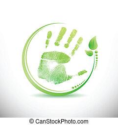 autour de, feuilles, illustration, main, conception, impression