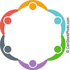 autour de, gens, circle., vecteur, conception, logo, enfants