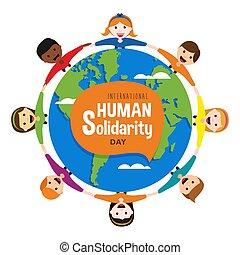 autour de, gens, divers, mondiale, jour, solidarité