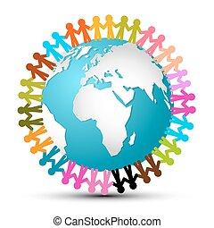 autour de, gens, globe, -, vecteur, tenant mains, la terre