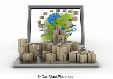 autour de, globe, écran, boîtes, carton, ordinateur portable