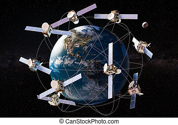 autour de, globe, espace, orbites, rendre, satellites, la terre, 3d