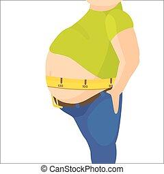 autour de, grand, excès poids, abdomen, illustration, ...