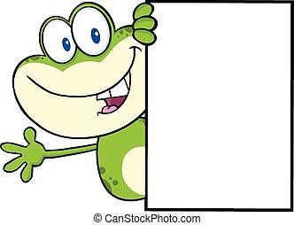 autour de, grenouille, vide, regarder, signe
