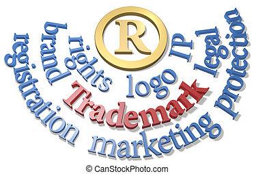 autour de, ip, symbole, marque déposée, r, mots