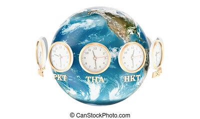 autour de, mondiale, concept., tourner, rendre, clocks, la terre, timezone, 3d