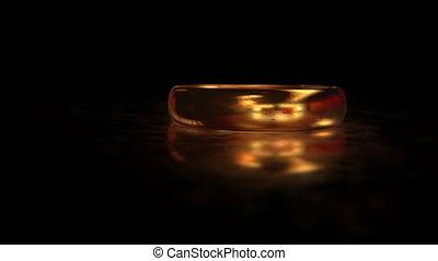 autour de, or, voler, surface, verre, mat, anneau, reflet