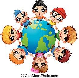 autour de, possession main, la terre, enfants, heureux