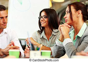 autour de, professionnels, séance, table, réunion, heureux