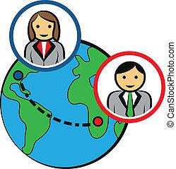 autour de, professionnels, vecteur, connecter, mondiale
