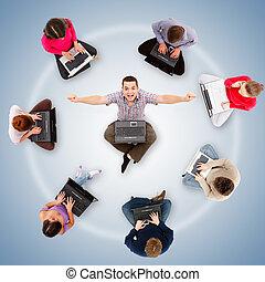 autour de, réussi, une, réseau, membres, social, homme