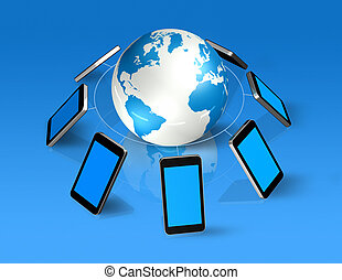 autour de, téléphones mobiles, globe, mondiale, 3d