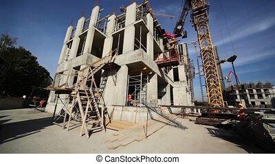 autour de, travail, édifice, peu, petit, constructeurs, ...