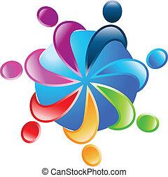 autour de, vecteur, collaboration, 7, mondiale, logo