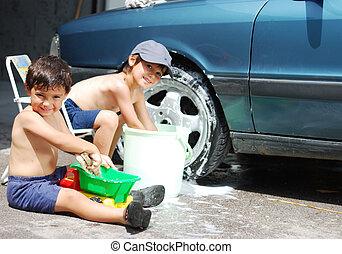 autour de, voiture, enfants, nettoyage, été, jouer