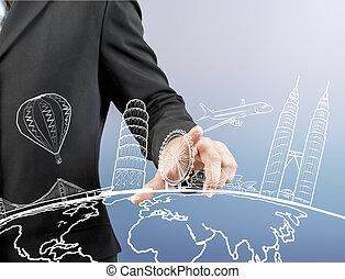 autour de, voyage, main, homme affaires, toucher, mondiale, rêve