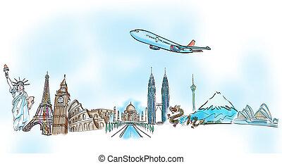 autour de, voyage, whiteboard, mondiale, rêve, dessin