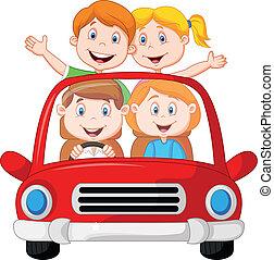 autovakantie, gezin, spotprent