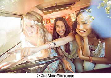 autovakantie, hipster, vrienden