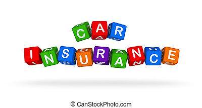 autoverzekering, kleurrijke, teken., veelkleurig, speelbal, blocks.