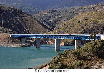 autovia, pont, nevada, espagne, sierra