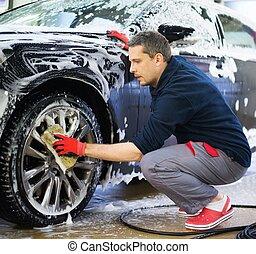 autowaschen, arbeiter, waschen, legierung, räder, car's,...