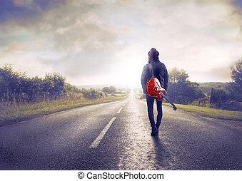 autoweg, wandelende, man